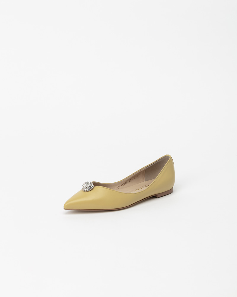 Charme Jewel Flat Shoes in Yellow Leather