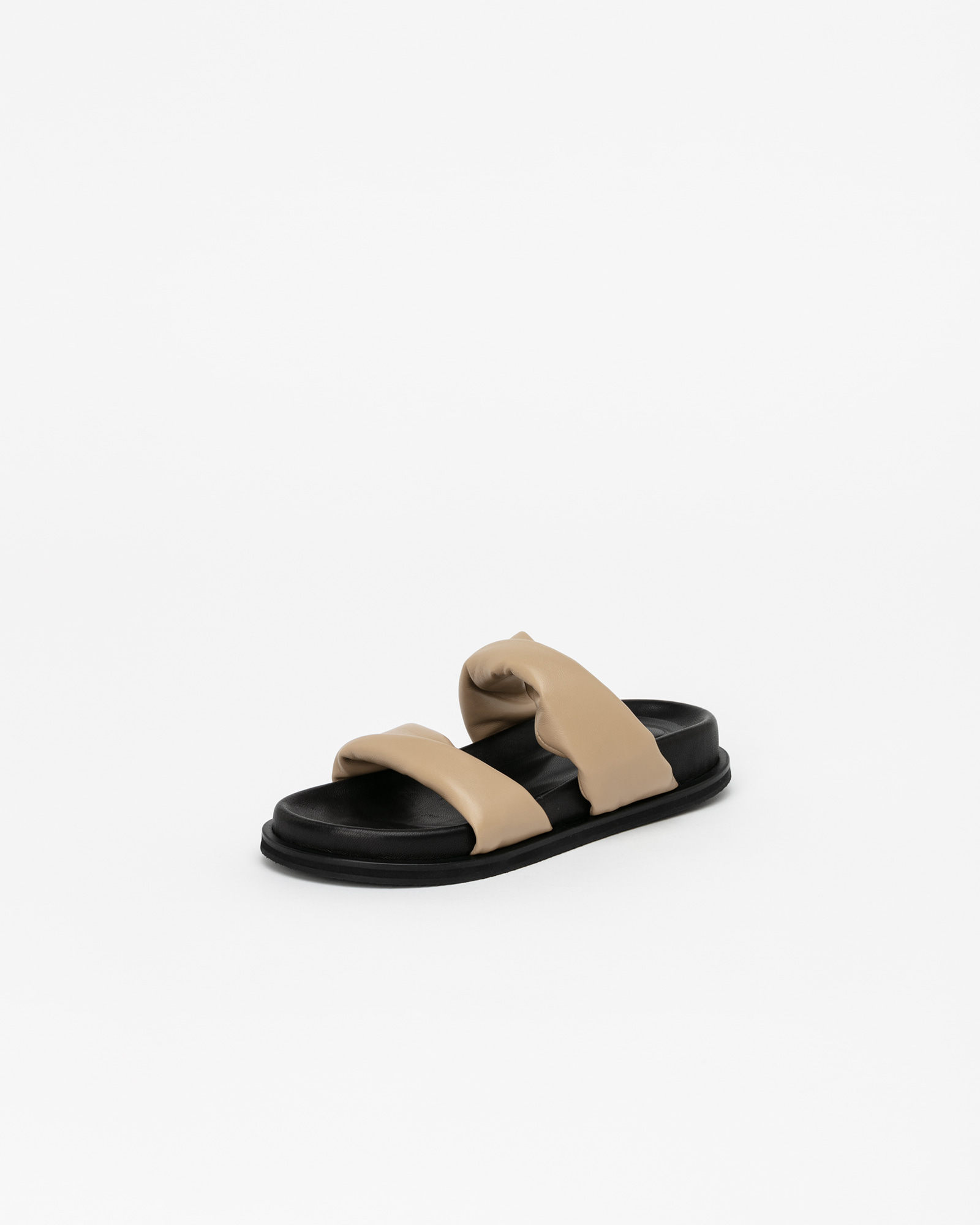 Ceylon Soft Footbed Slides in Black with Beige