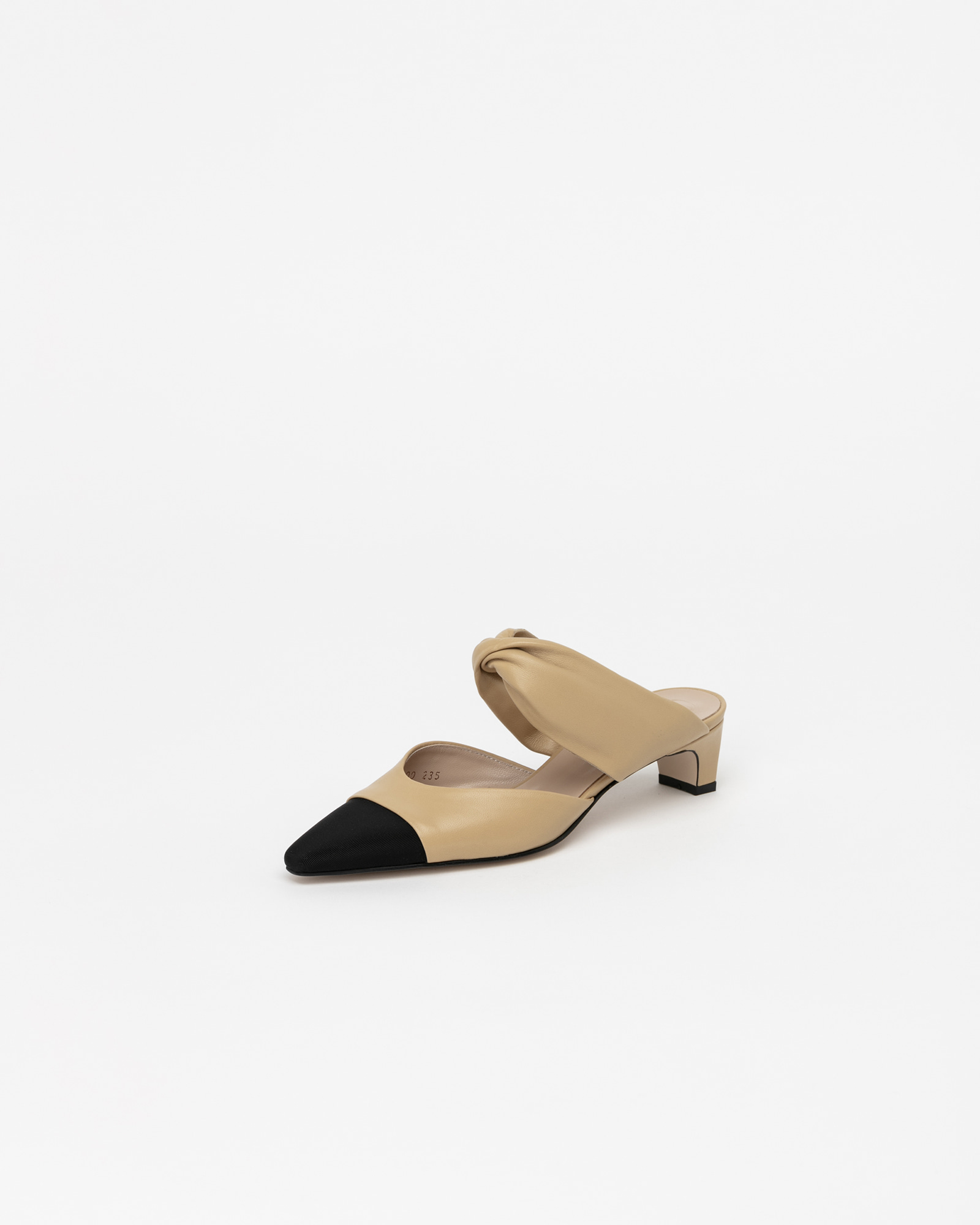 Zena Soft Mules in Beige with Black Toe