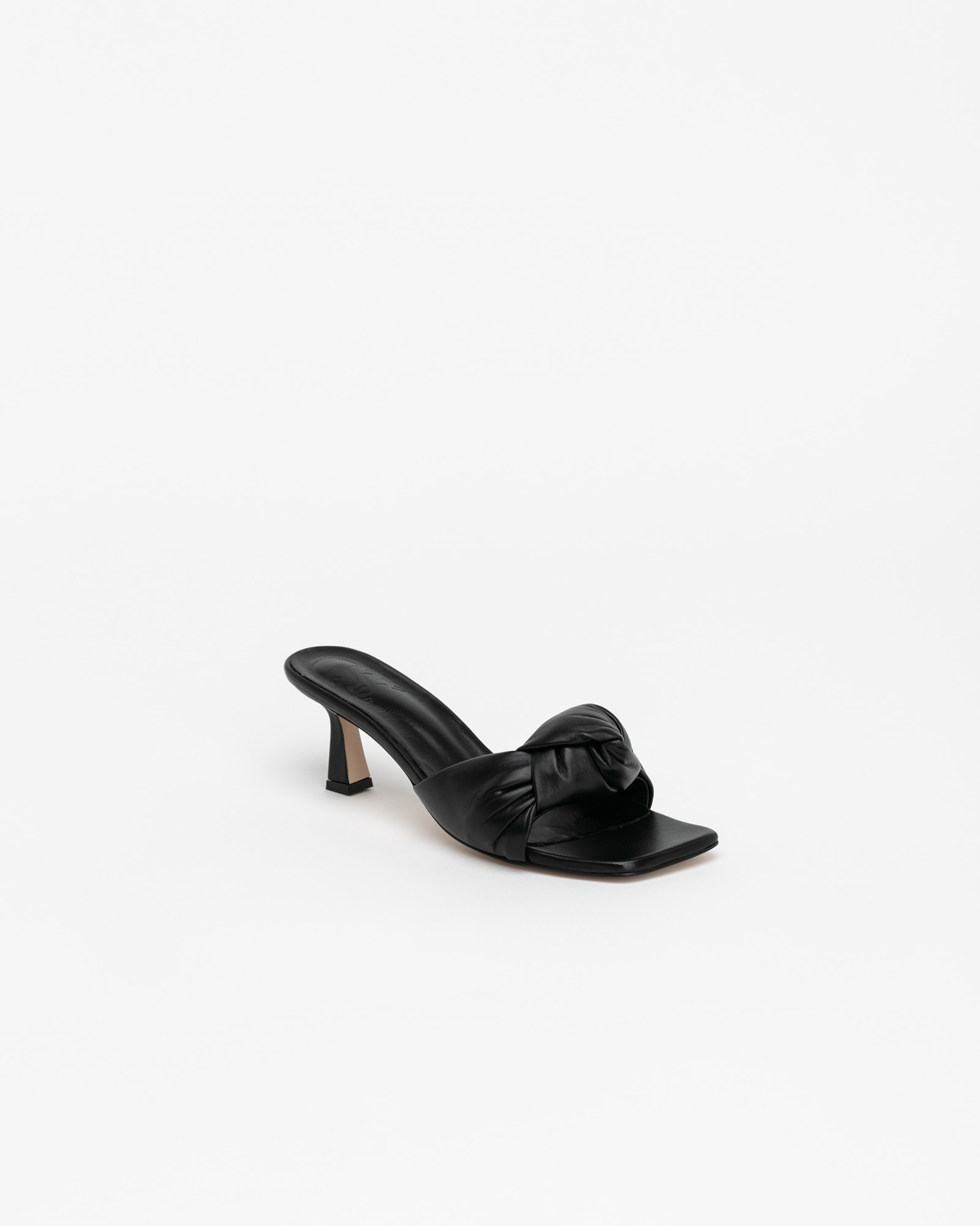 Wrappy Knotted Mules in Black
