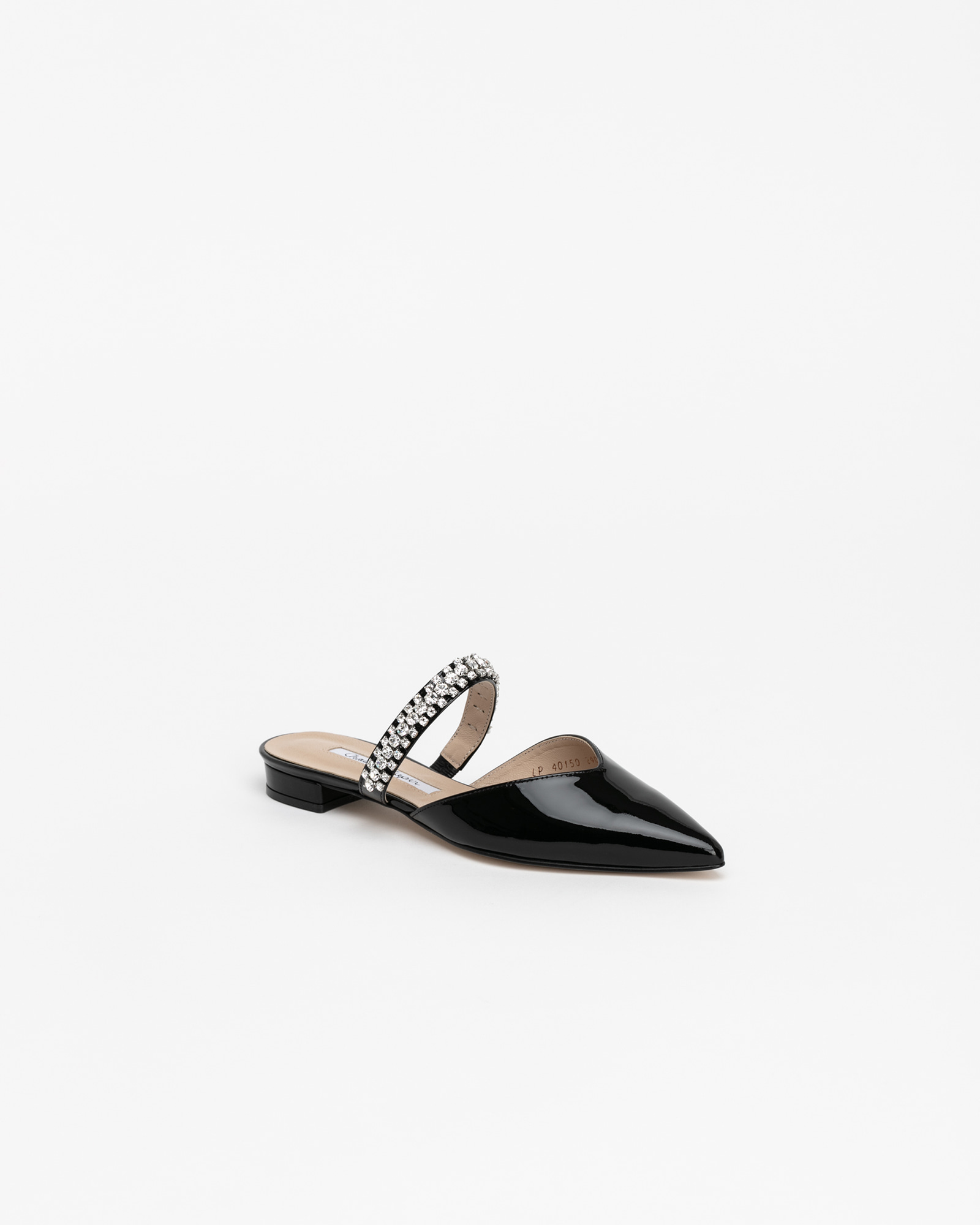 Patio Jeweled Slides in Black Patent