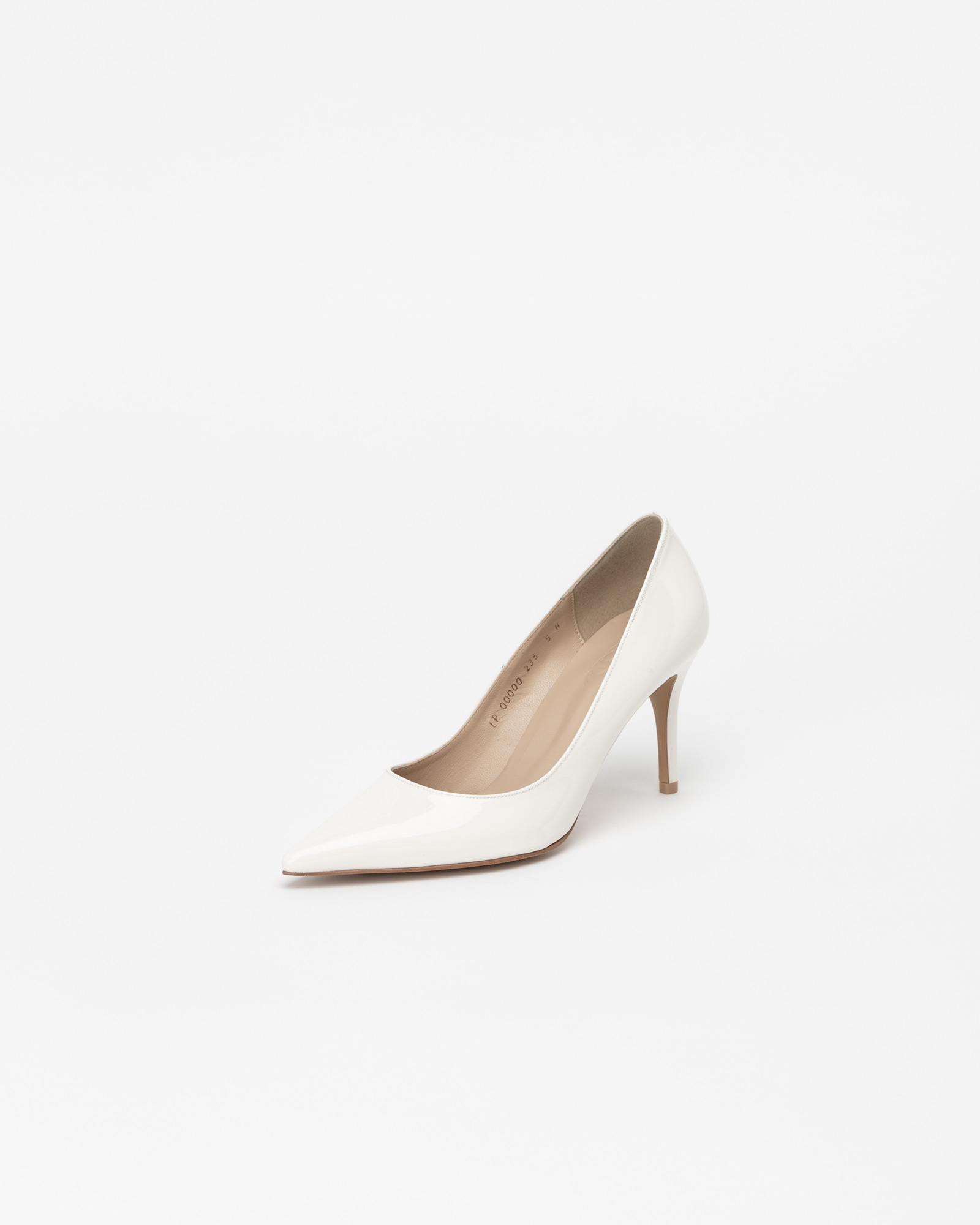 Chauffeur Stilletto Pumps in Milky White Patent