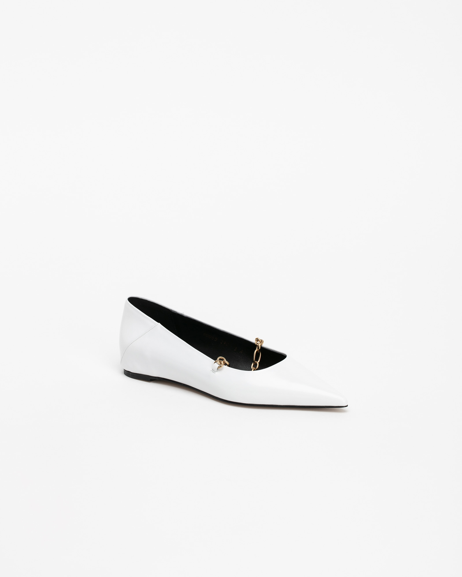 Chateau Chained Flat Shoes in White Textured Patent