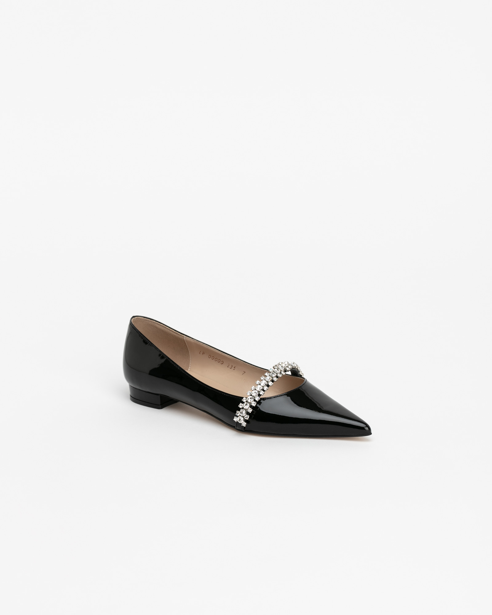 Patio Stiletto Flat Shoes in Black Patent