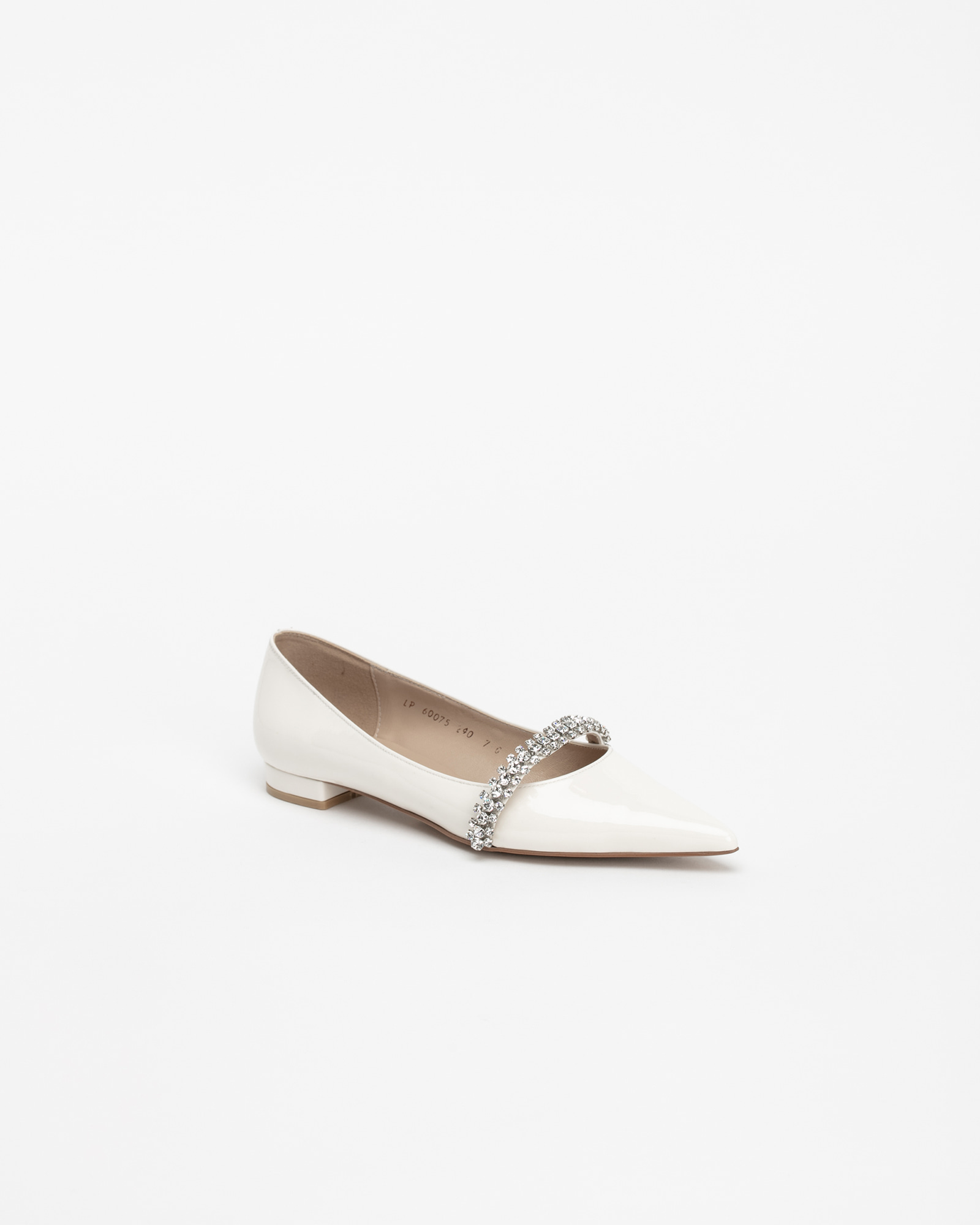 Patio Stiletto Flat Shoes in Milky White Patent