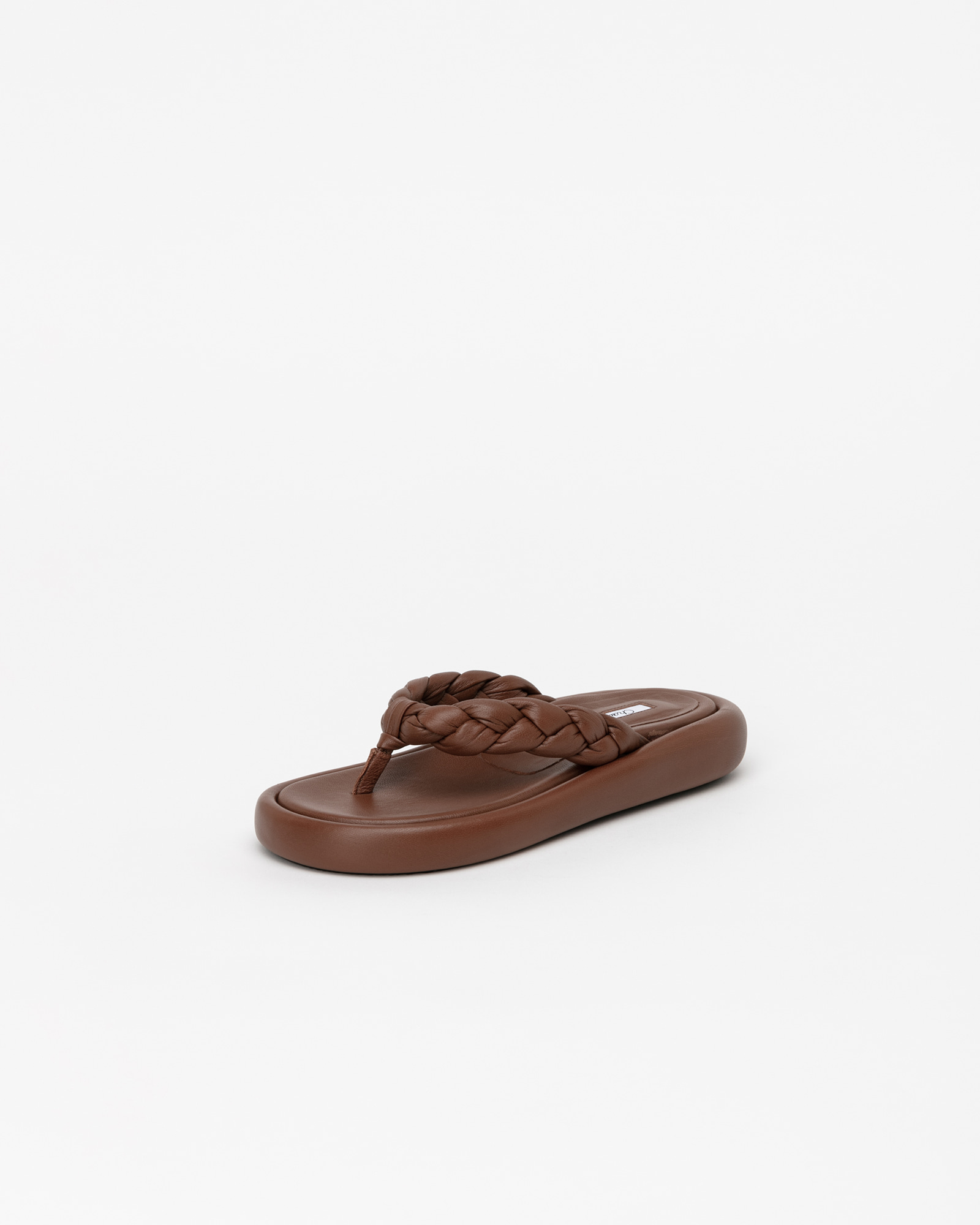 Dakota Footbed Thong Slides in Cognac Brown