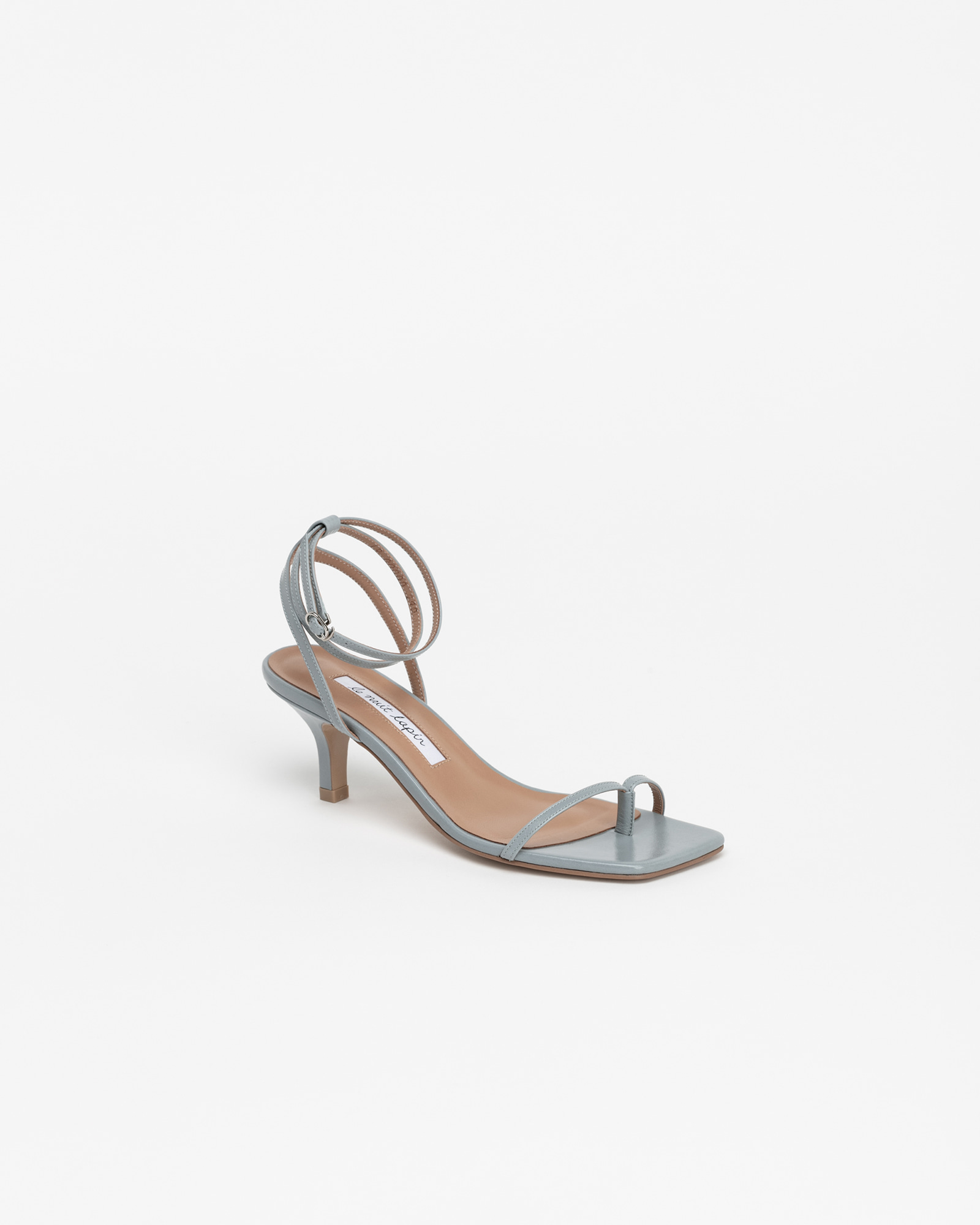 Evelaine Thong Strap Sandals in Blue Textured Patent