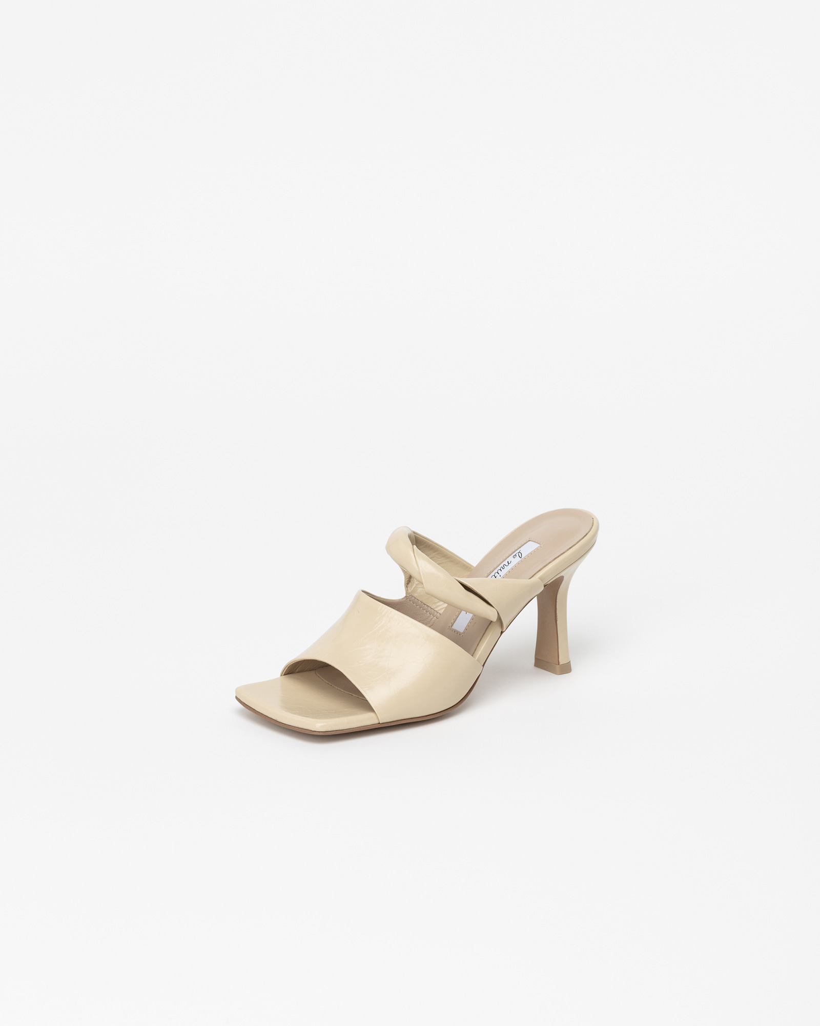 Baldini Mules in Wrinkled Light Yellow